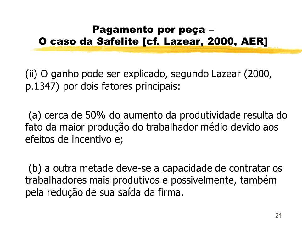 Pagamento por peça – O caso da Safelite [cf. Lazear, 2000, AER]